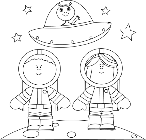 Astronaut clipart outline. Black and white astronauts