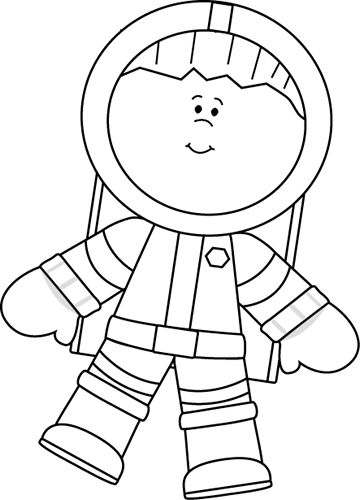 Pencil and in color. Astronaut clipart outline