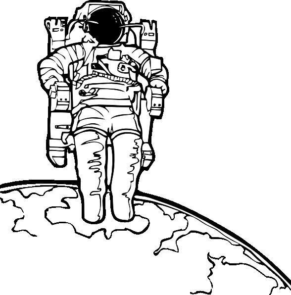 Space walk clip art. Astronaut clipart outline