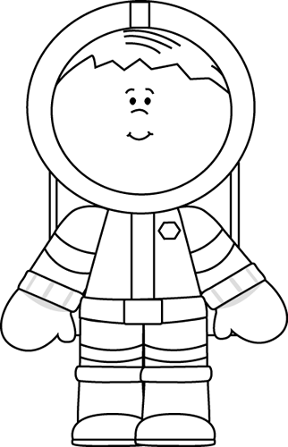 Black and white boy. Astronaut clipart outline