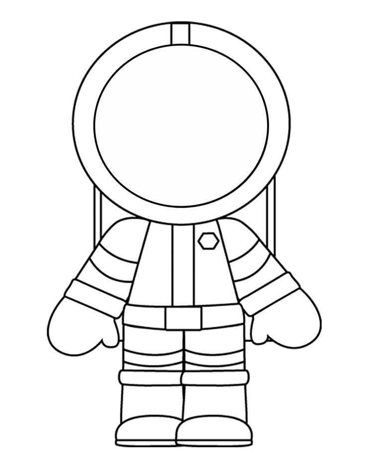 Astronaut clipart outline. Printable template for the