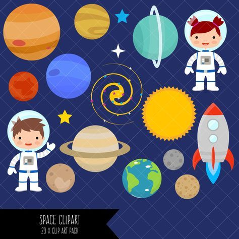 Planet clipart collage. Space planets astronaut clip