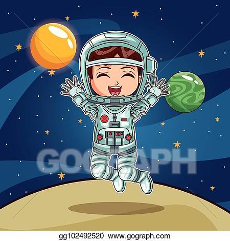 Vector stock girl on. Planet clipart astronaut