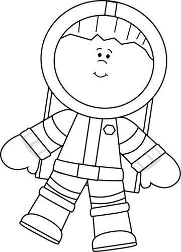 Black and white boy. Astronaut clipart preschool