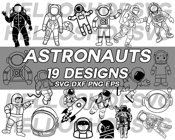Svg spaceman space decal. Astronaut clipart silhouette