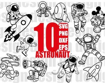 Astronaut clipart silhouette. Etsy svg astronauts space