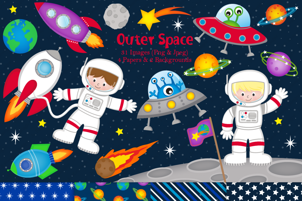 Astronaut clipart tool. Space graphics illustrations astronauts