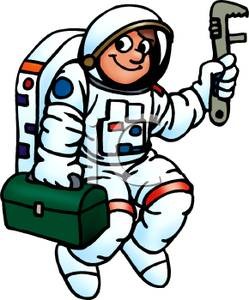 An with a box. Astronaut clipart tool