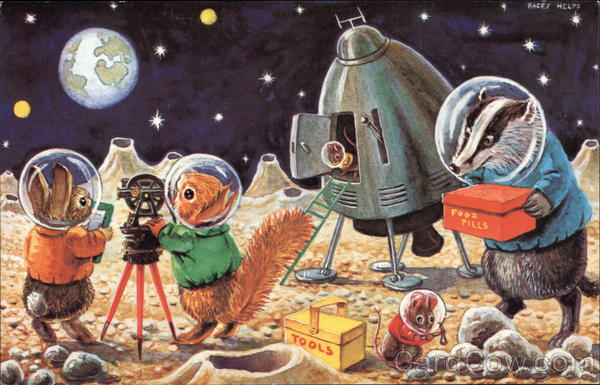Astronaut clipart vintage. Th of july postcards
