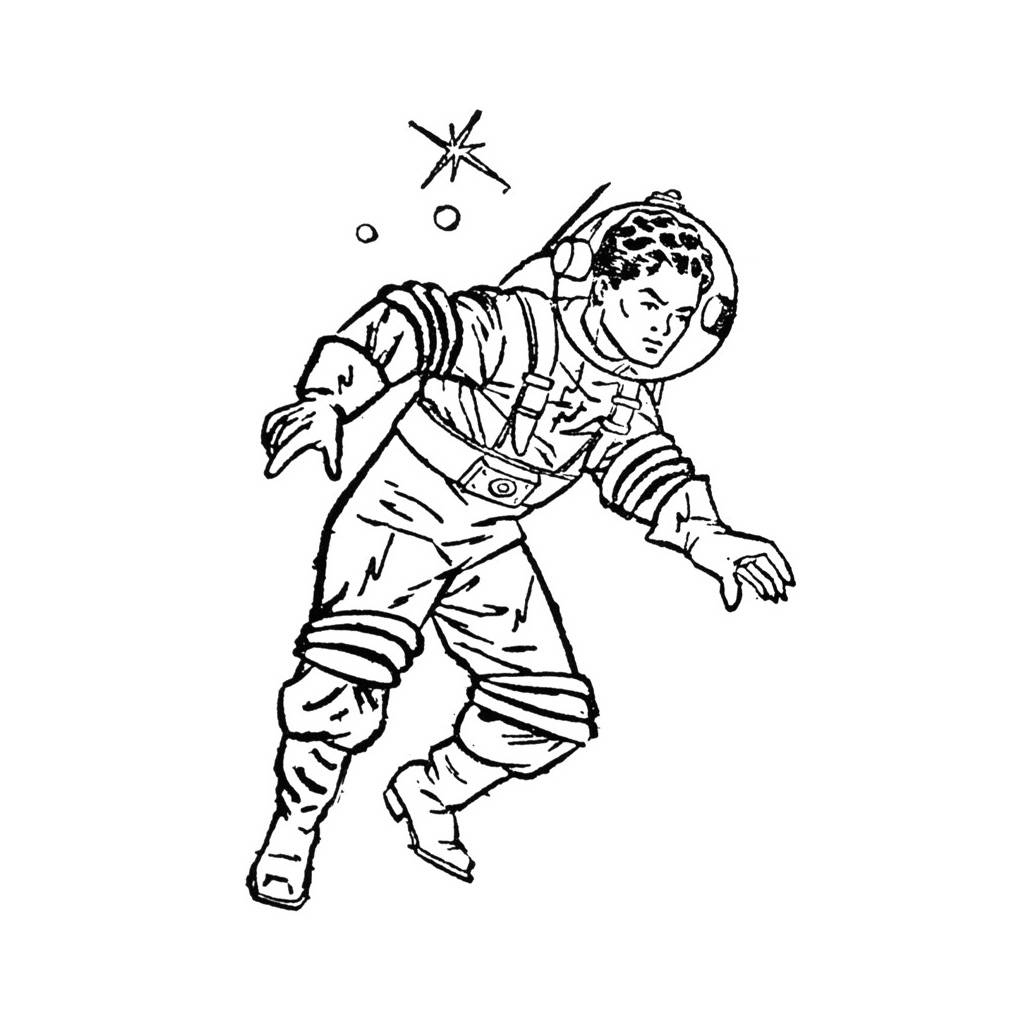 Astronaut clipart vintage. Line drawing at getdrawings