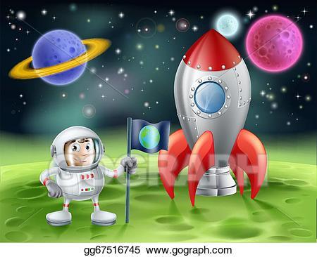 Eps illustration cartoon and. Astronaut clipart vintage