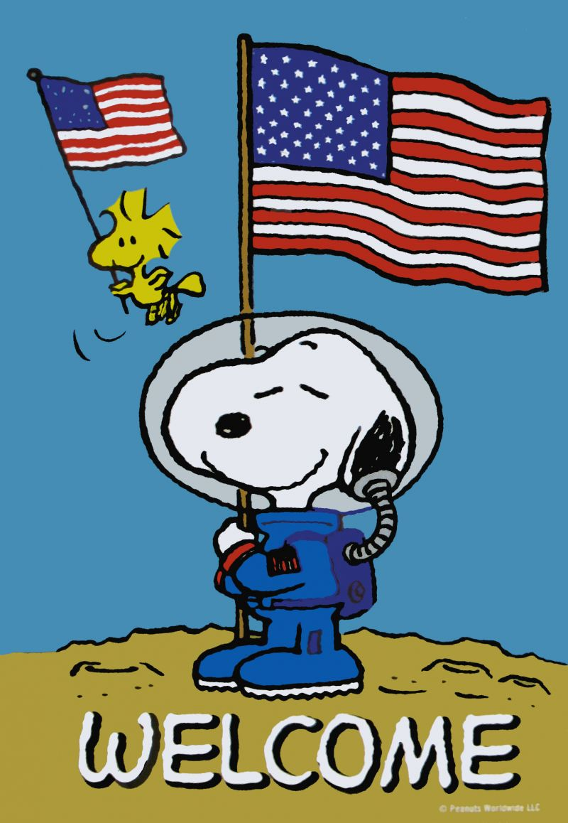 Non flag snoopy welcome. Astronaut clipart vintage