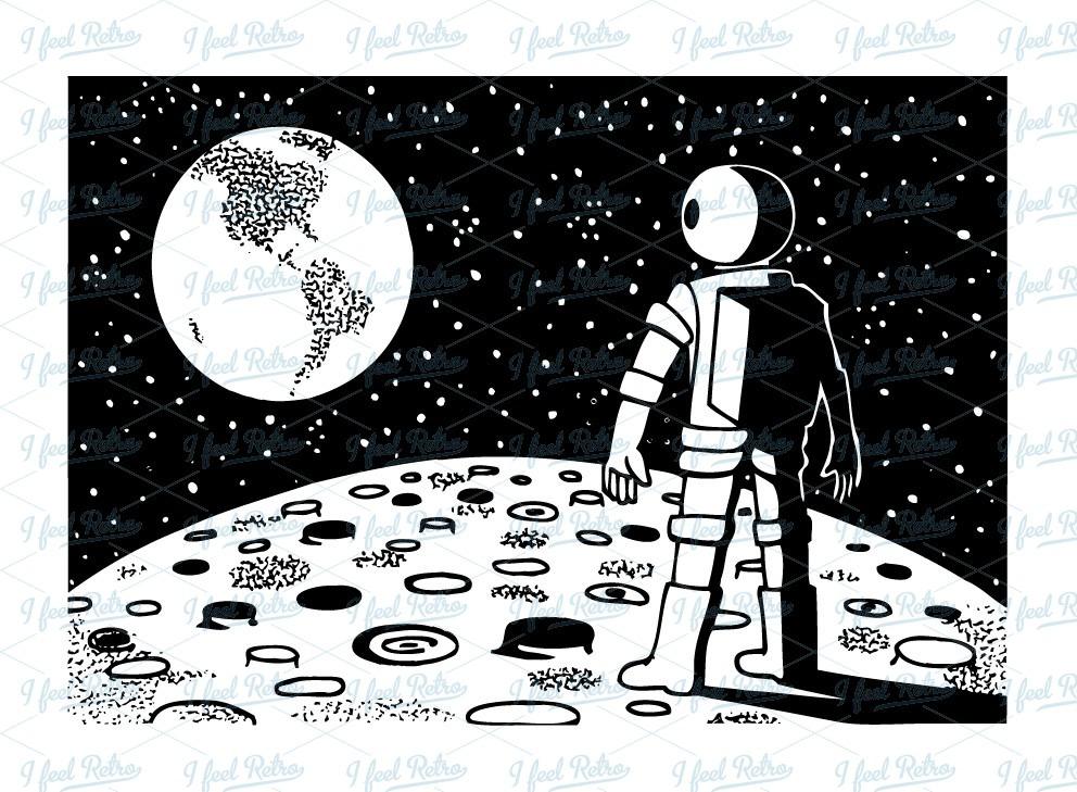 Astronaut clipart vintage. On moon letters format