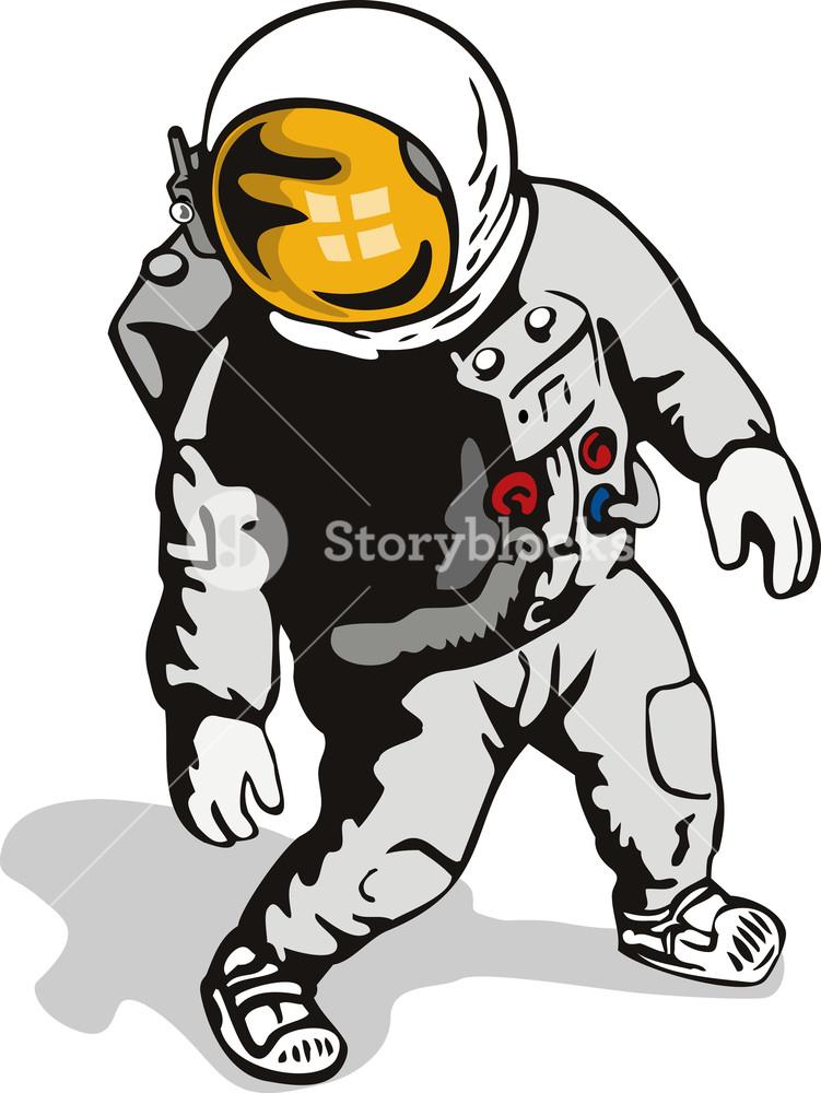 Astronaut clipart vintage. Retro royalty free stock