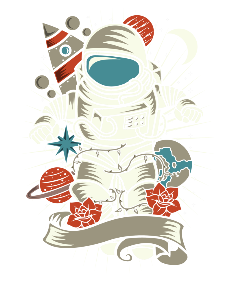Retro distressed design by. Astronaut clipart vintage