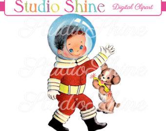Astronaut clipart vintage. Children etsy digital cute