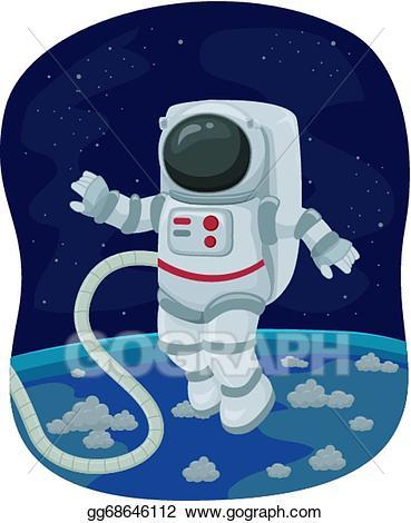 Astronaut clipart walking. Eps vector space walk