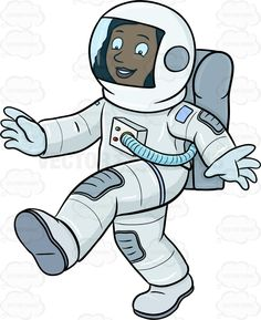 A female reveling space. Astronaut clipart walking