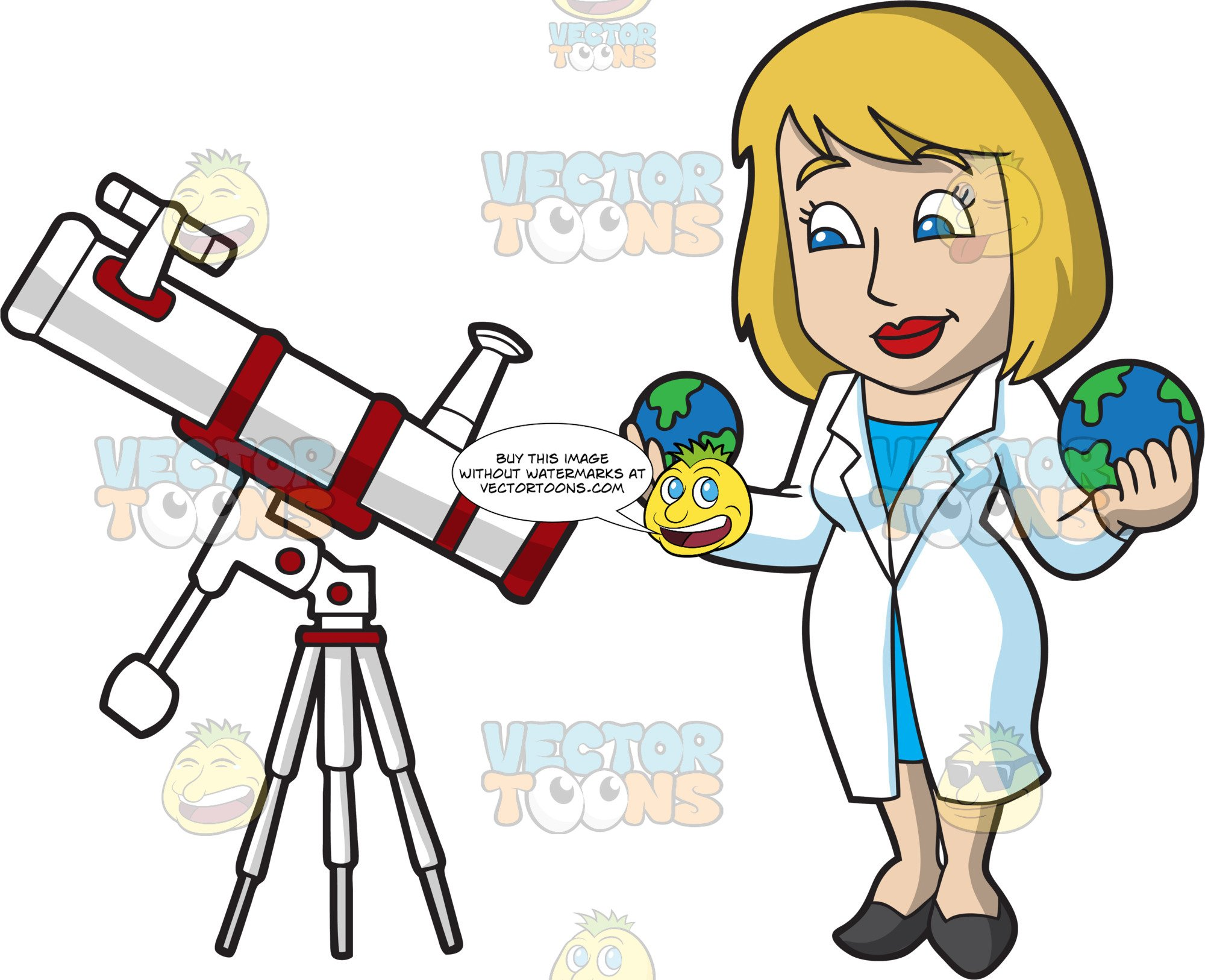 A female studying planets. Astronomy clipart astronomer