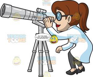 Astronomy clipart astronomer. A female using telescope