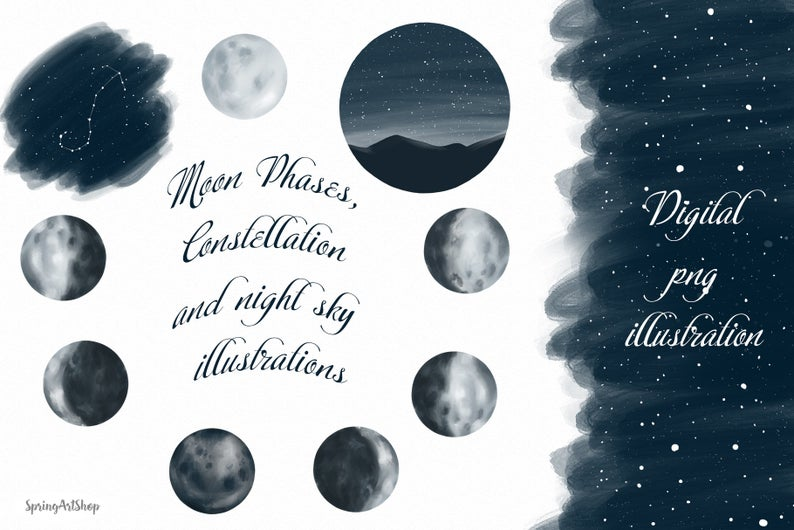 Digital zodiac constellations moon. Astronomy clipart baby