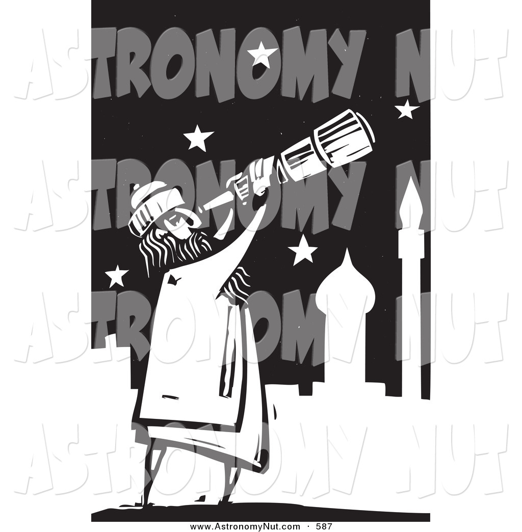 Astronomy clipart black and white. Of a curious arabian