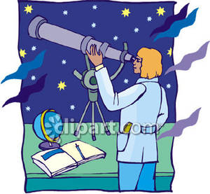 Astronomy clipart cartoon. Scientist using a telescope