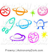 Royalty free alien stock. Astronomy clipart colorful