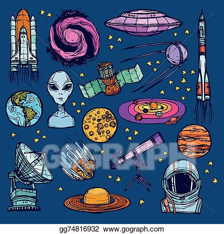 Astronomy clipart colorful. Vector space sketch set