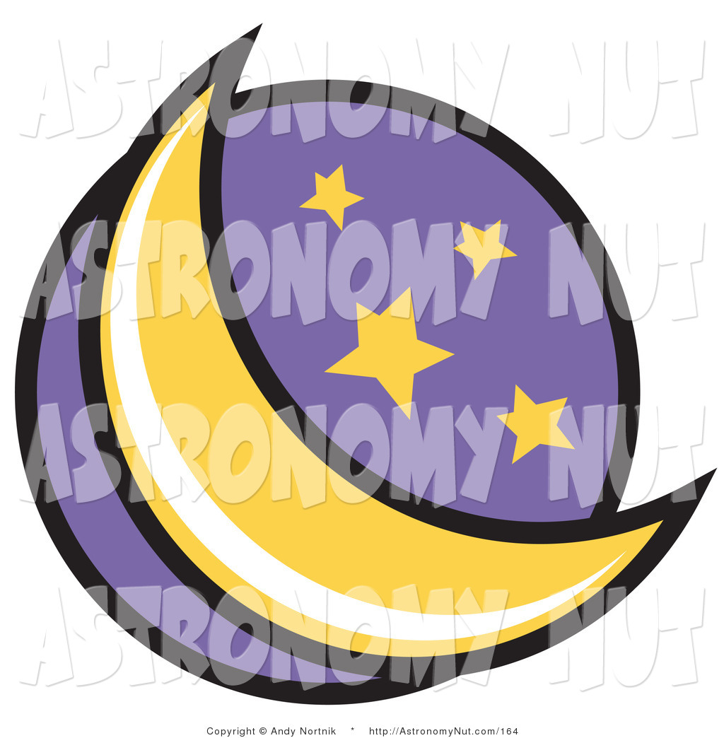 Astronomy clipart crescent moon. Of a and stars