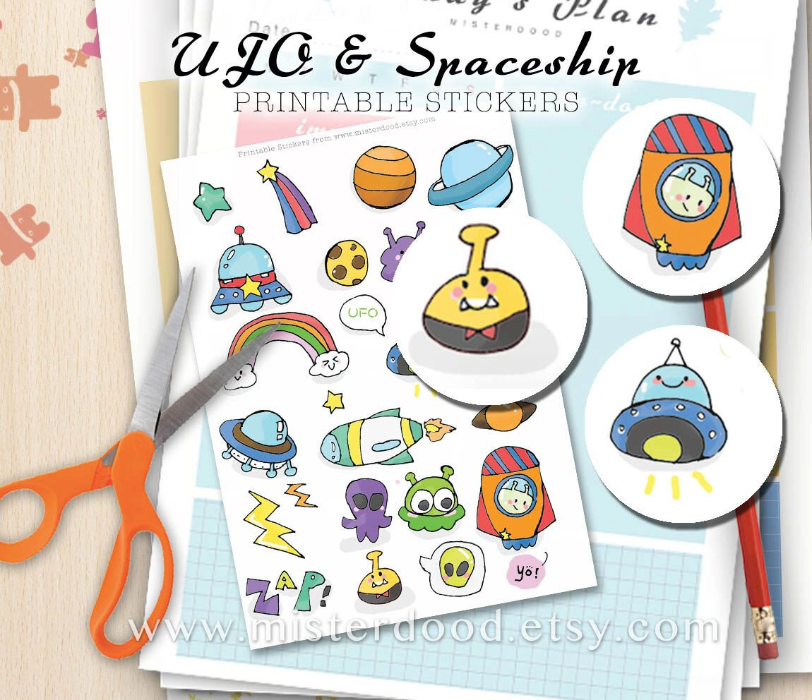 Astronomy clipart cute. Ufo printable sticker spaceship