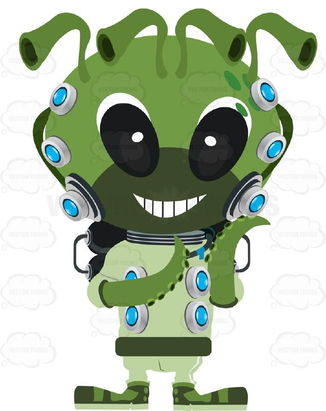 Alien space monster with. Astronomy clipart cute