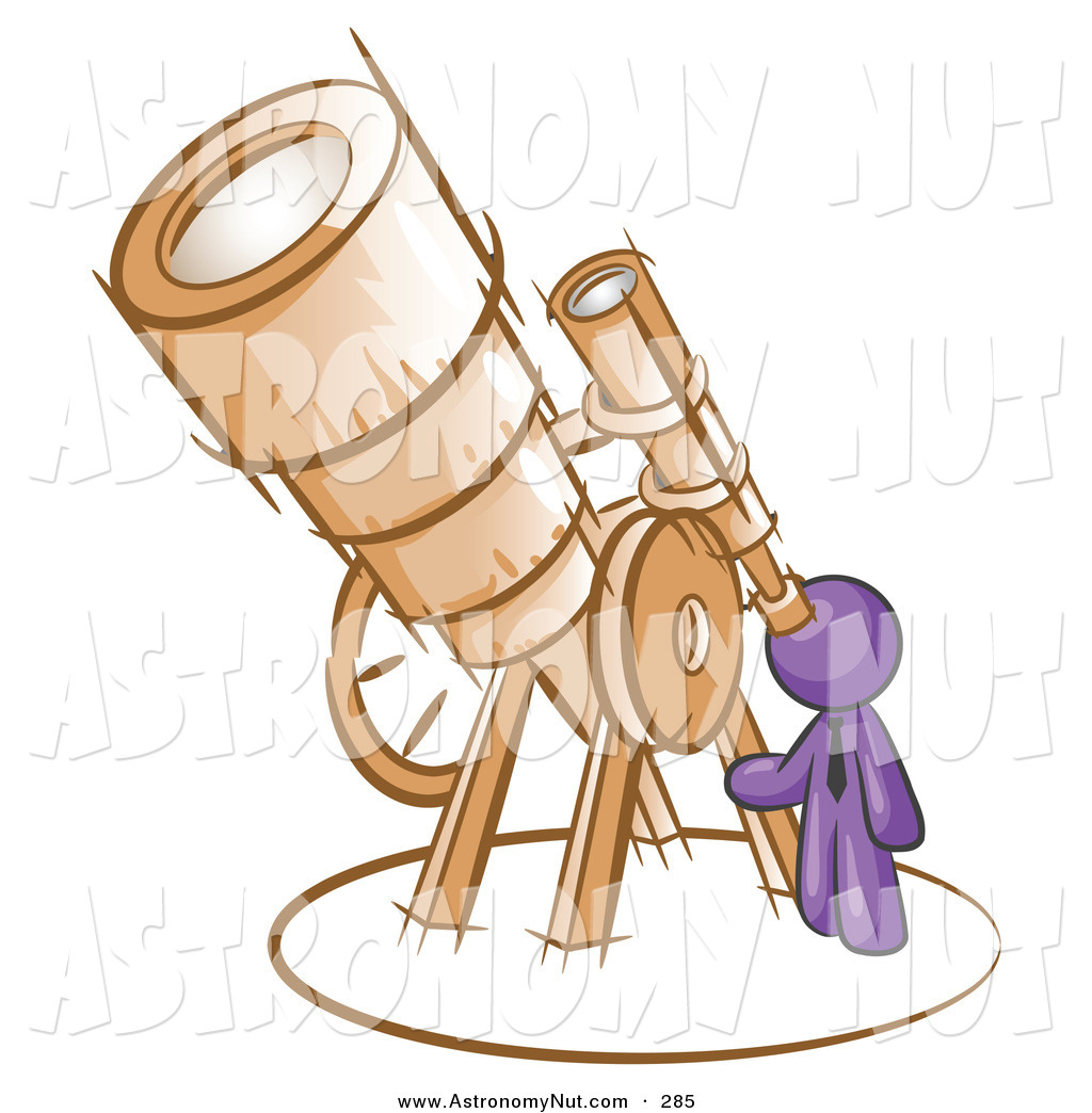 Astronomy clipart cute. Of a purple businessman