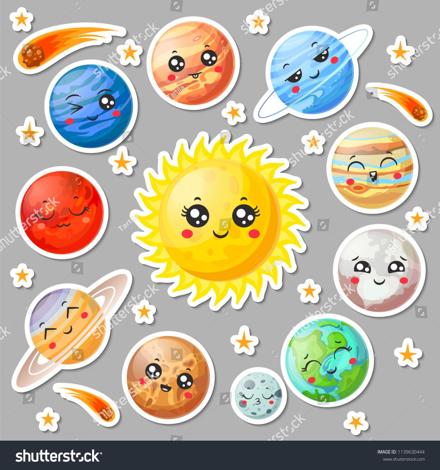 Astronomy clipart cute. Cartoon planets stickers happy
