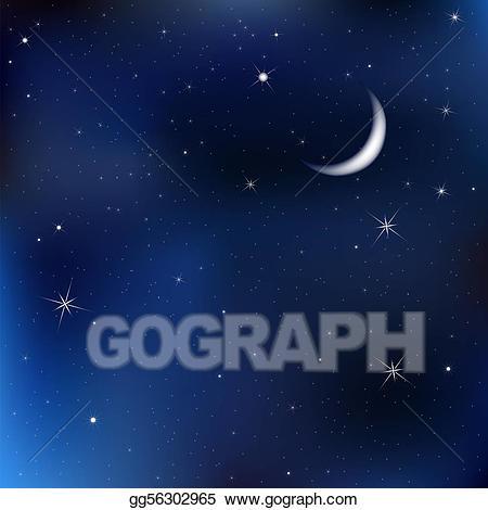 Vector stock night sky. Astronomy clipart evening