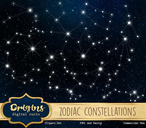 Zodiac constellations vectors night. Astronomy clipart evening