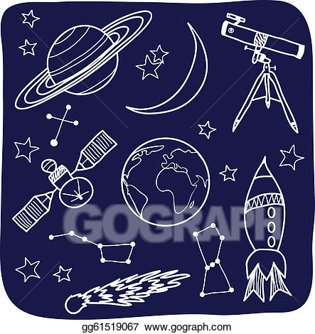 Astronomy clipart illustration. Vector space and night