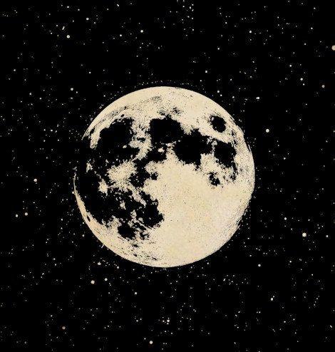 Full moon printable art. Astronomy clipart night sky