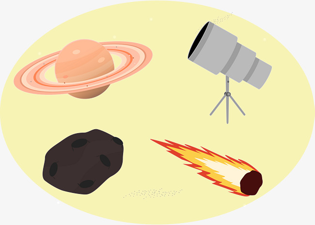 Space observation vector yellow. Astronomy clipart observer