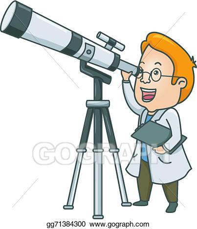 Vector art telescope man. Astronomy clipart optical