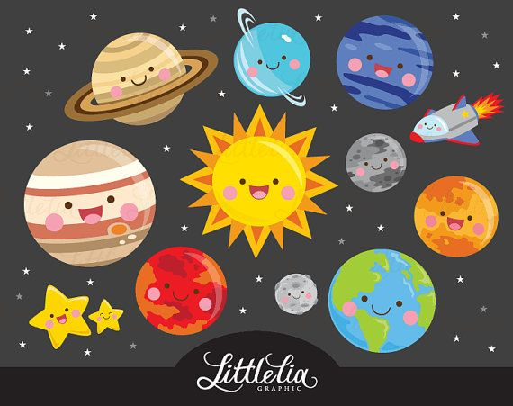 Solar system kawaii album. Astronomy clipart outer space