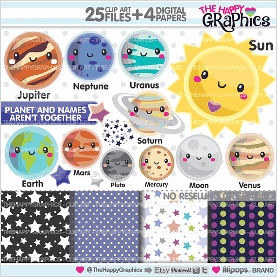 Solar system off graphic. Astronomy clipart planet