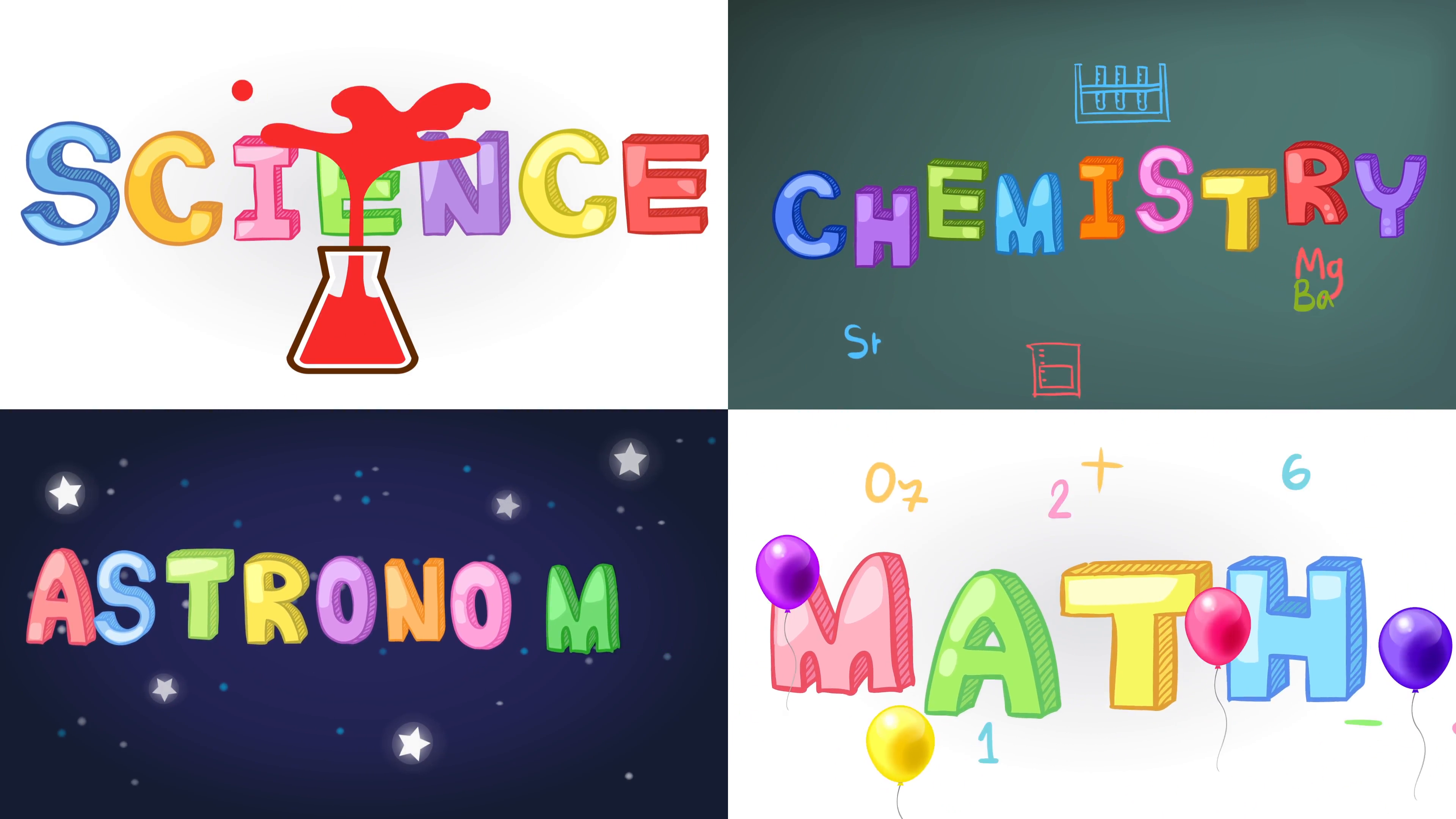 Astronomy clipart science nature. Four screen animation of