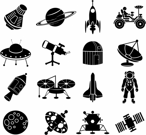 Icons free vector in. Astronomy clipart space exploration