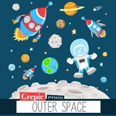 Astronomy clipart space flight. Rocket and ufo flying