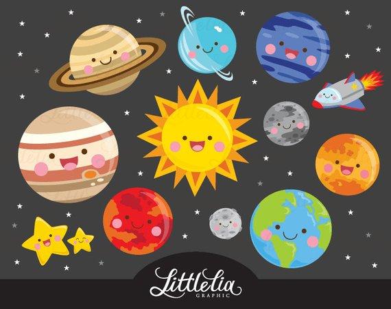 Solar system kawaii space. Planets clipart handmade