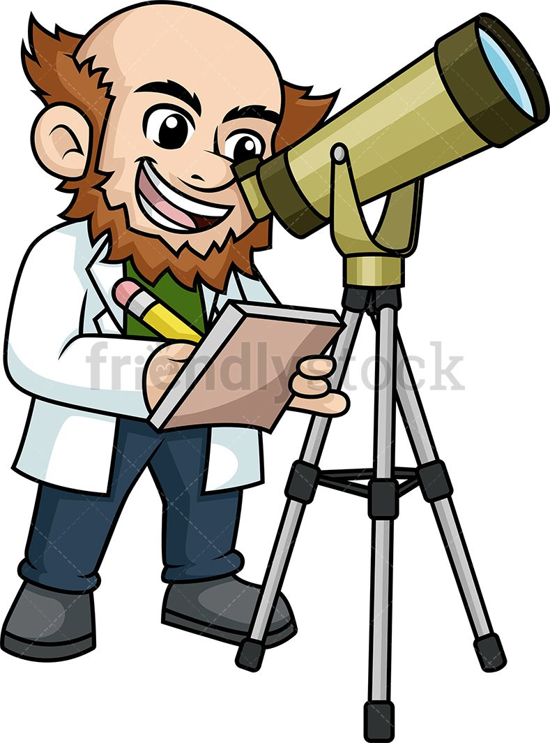 Looking through telescope cartoon. Astronomy clipart space scientist