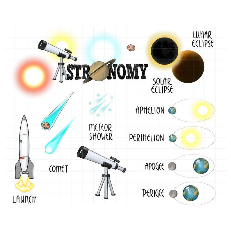 Astronomy clipart stargazing. Digital planner stickers telescope