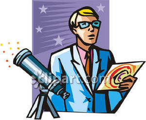 Scientist with a and. Astronomy clipart telescope star