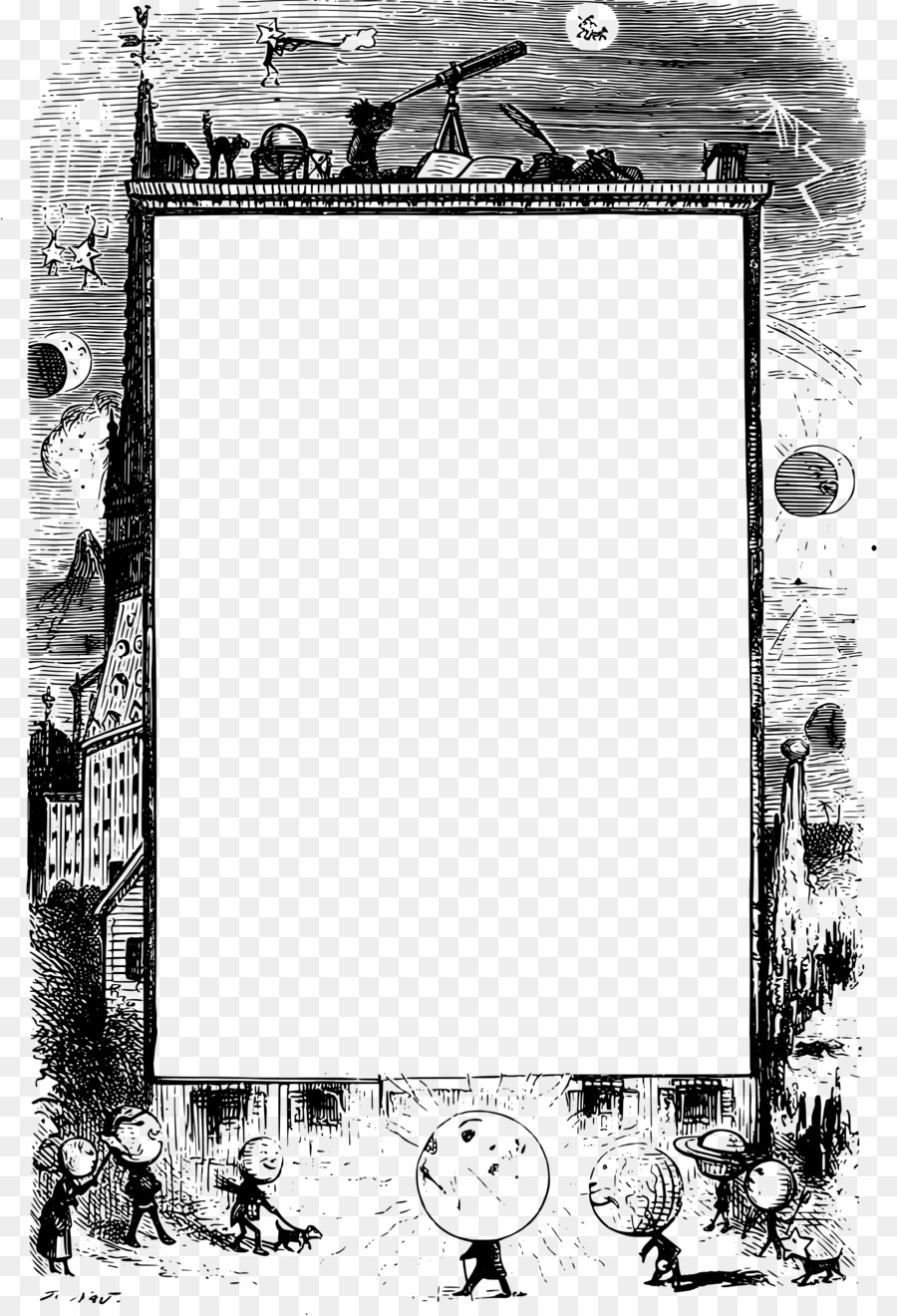 Picture frames borders and. Astronomy clipart transparent